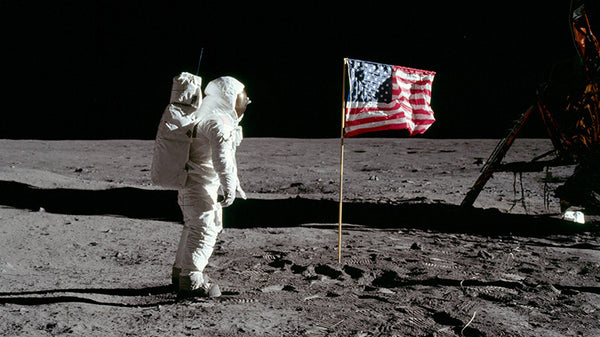american flag on the moon - usa moon landing