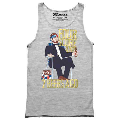 Four score and seven beers ago tank top grey