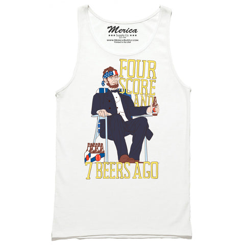 Four score and seven beers ago tank top white