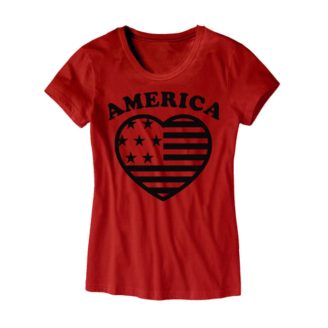 Womens America Heart T-Shirt