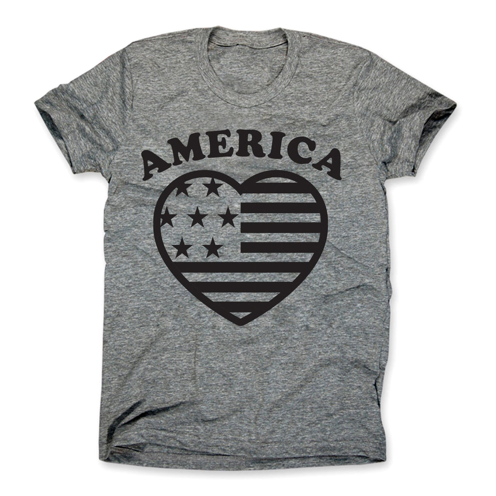 America Heart Shirt Gray