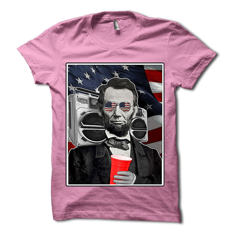 Abraham Lincoln Patriotic Party Shirt Pink