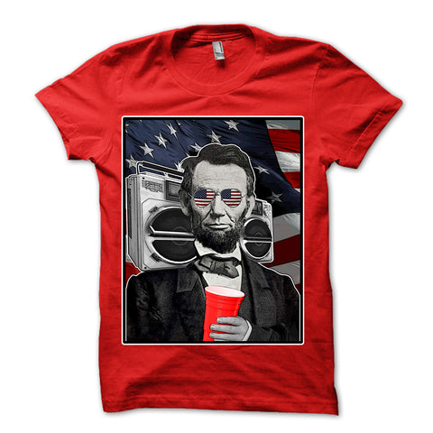 Abraham Lincoln Patriotic Party Shirt Red