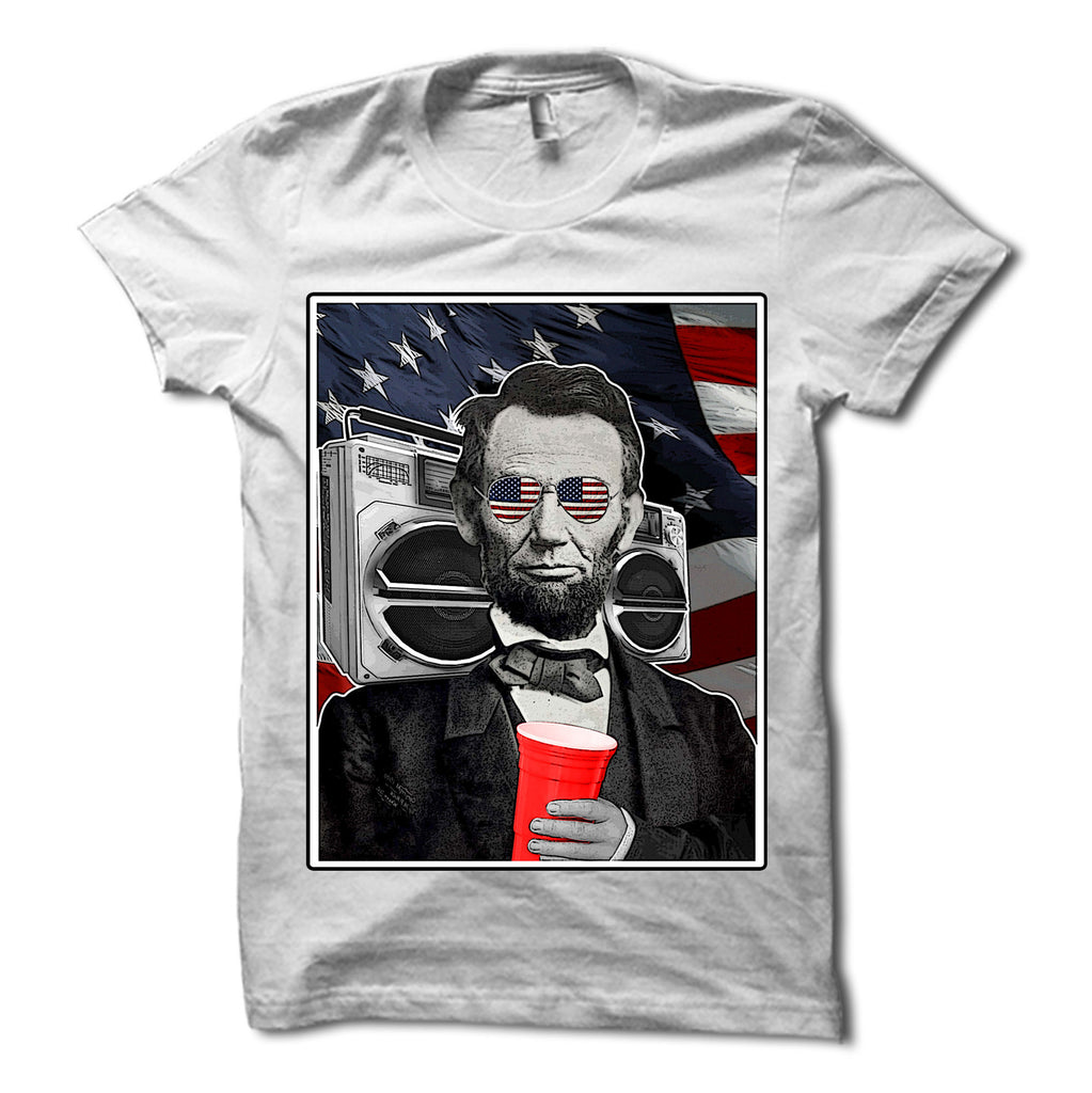 Abraham Lincoln Patriotic Party Shirt White