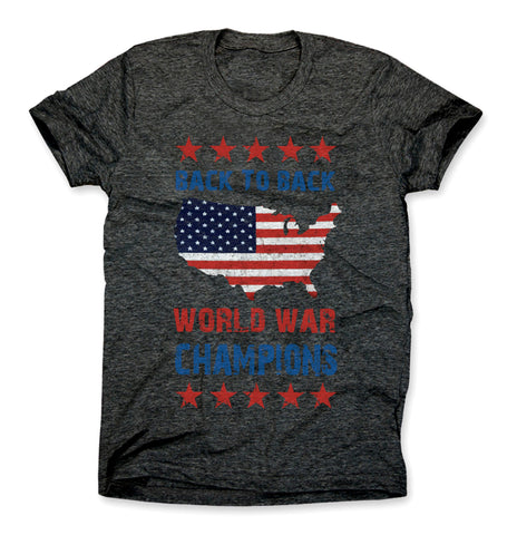 Back to back world war champions shirt charcoal gray
