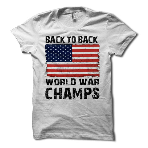 back to back world war champs usa flag shirt - grey