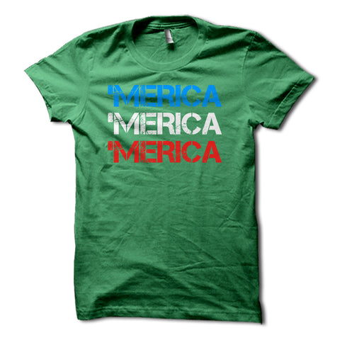 MERICA Red White & Blue Patriotic Shirt