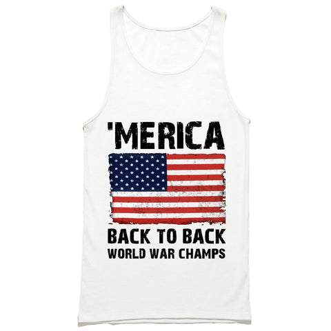 MERICA Back to Back World War Champs American Flag Tank Top