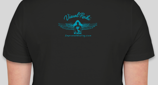 Visual Reiki logo on back of shirt