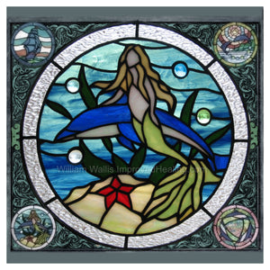 """Mermaid & Dolphin Stained Glass"" Photographic Print 12x12 inches"