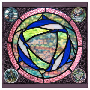 """Dolphin Circle Stained Glass"" Photographic Print 12x12 inches"