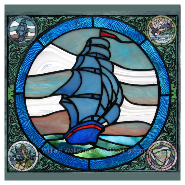 """Blue Seas Stained Glass"" Photographic Print 12x12 inches"