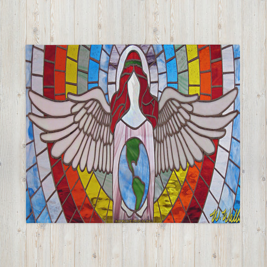 Angel of Healing Throw Blanket - Red Theme