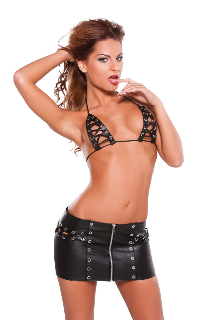 Faux Leather Lace Up Skirt and Bra Set