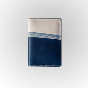 Load image into Gallery viewer, CRUSOE WORLD High Tide Passport Wallet // Veg Tan and Navy