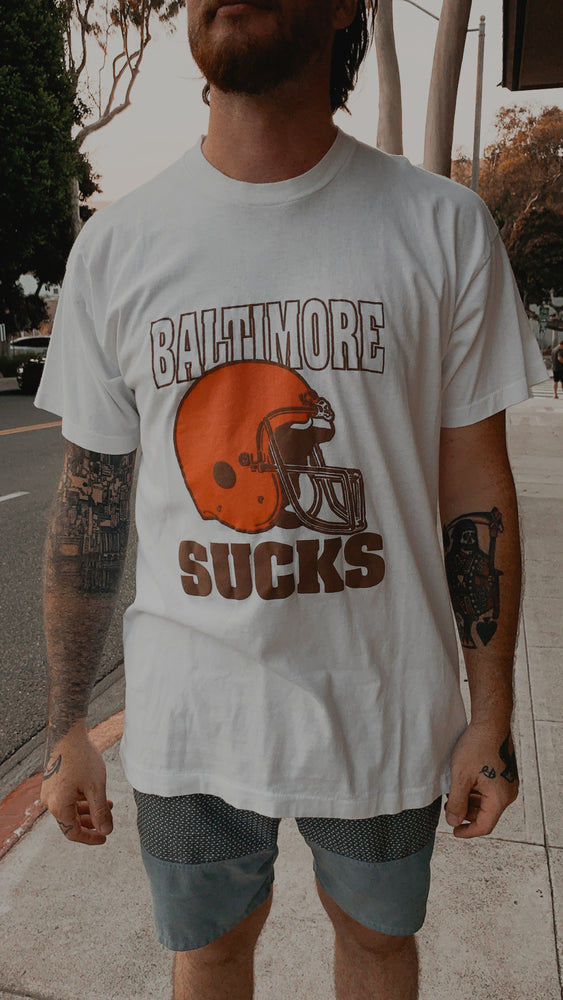 "Load image into Gallery viewer, POST GRAD VINTAGE // BROWNS ""BALTIMORE SUCKS"" // WHITE"