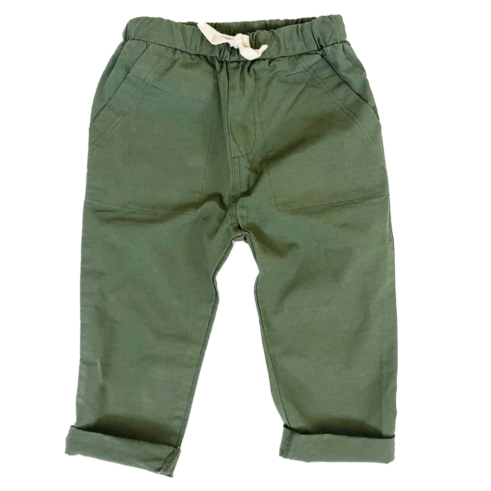 HEY GANG Kid's Everyday Drawstring Pant // Army Green