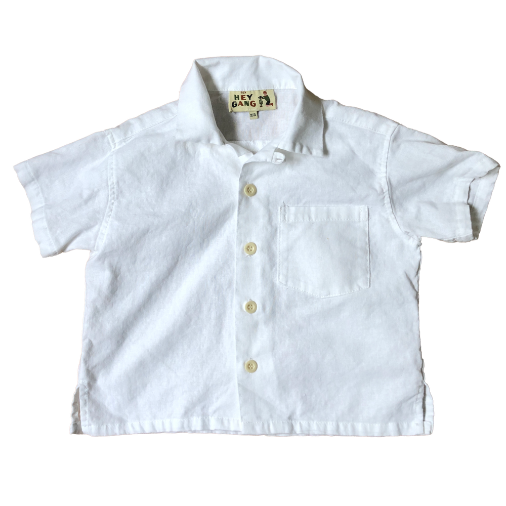 HEY GANG Kid's Camp Shirt // White