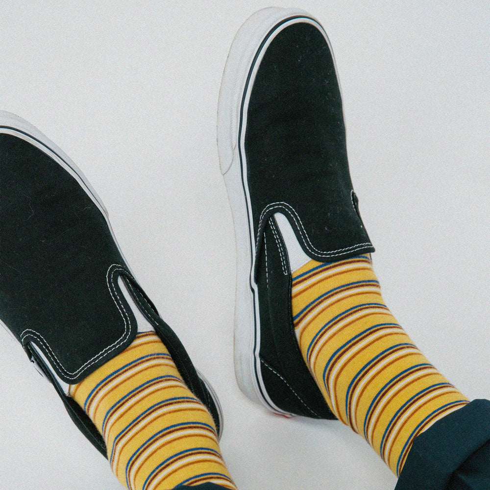 Load image into Gallery viewer, TAILORED UNION Men's All Good Socks // Gold Striped