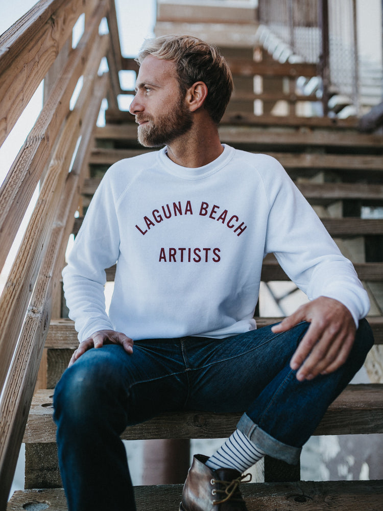 Load image into Gallery viewer, NORTH Laguna Beach Artists Crew Pullover // White