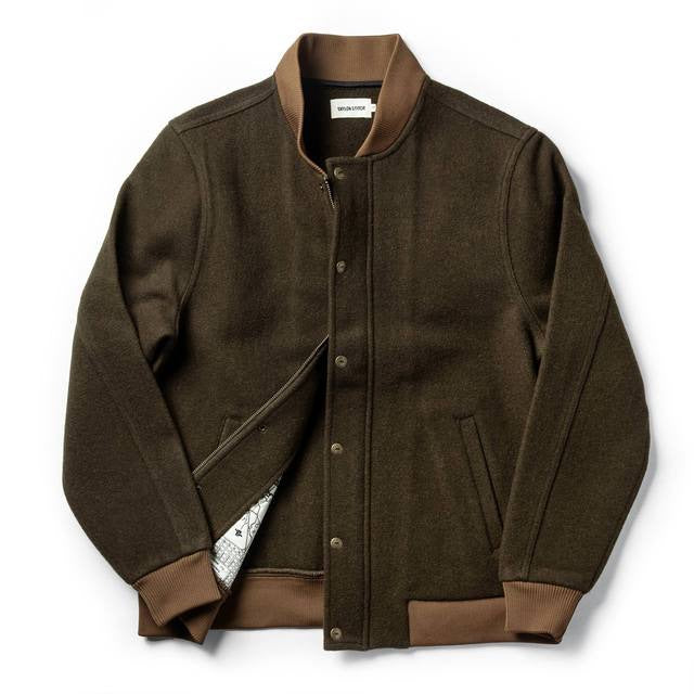 Load image into Gallery viewer, TAYLOR STITCH // BOMBER JACKET // OLIVE WOOL