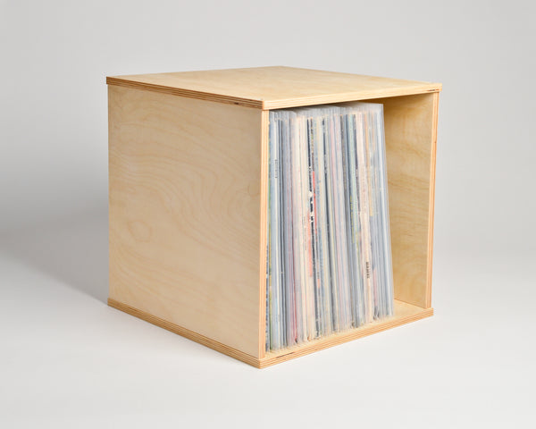 Vinyl Record Cube - shelf oriented - filled - Airwood Design