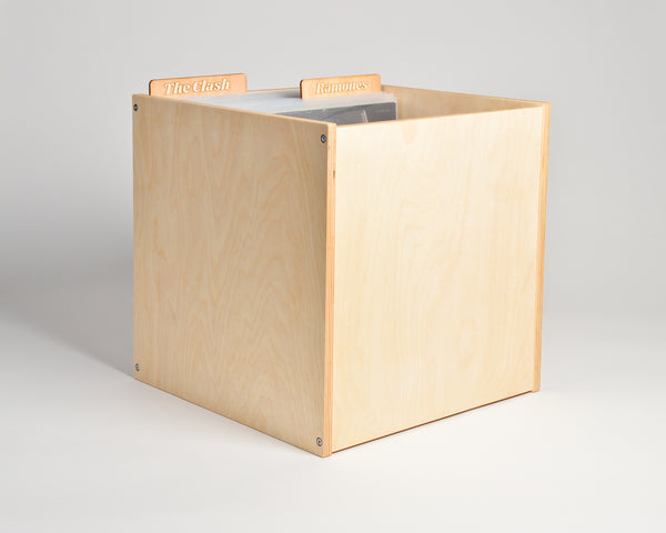 Vinyl Record Cube - upright - filled with header cards - Airwood Design