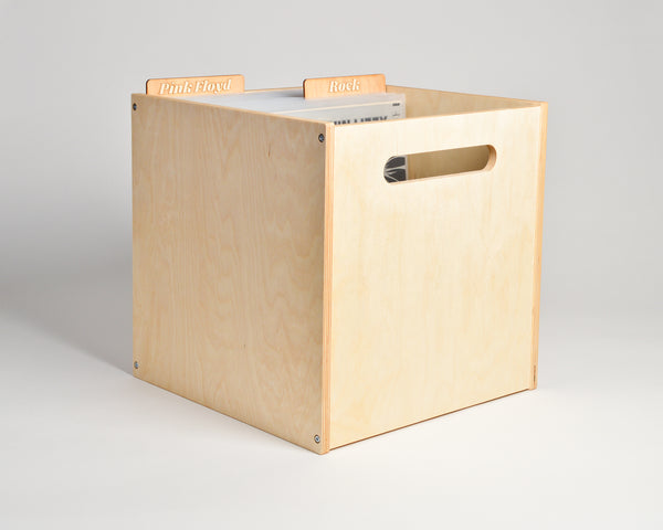 Deep Groove Record Crate - upright - with header cards - Airwood Design