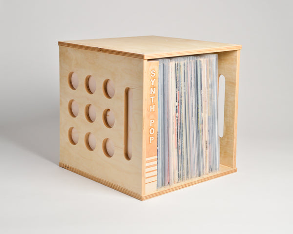 Deluxe Deep Groove Record Crate - shelf oriented - filled with inline divider - Airwood Design