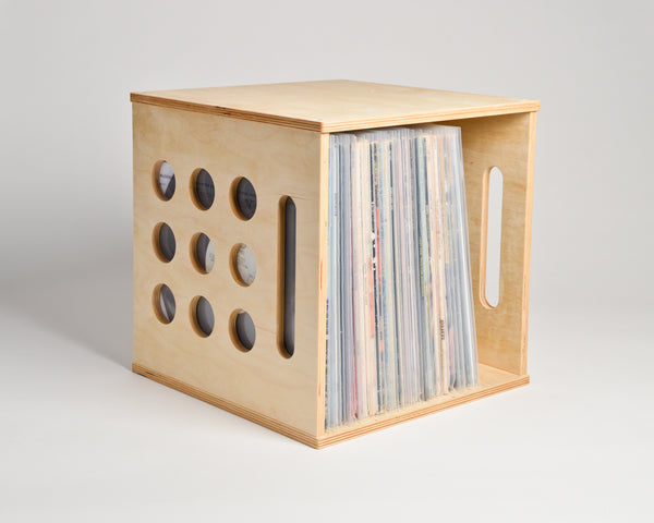 Deluxe Deep Groove Record Crate - shelf oriented - filled with vinyl records - Airwood Design