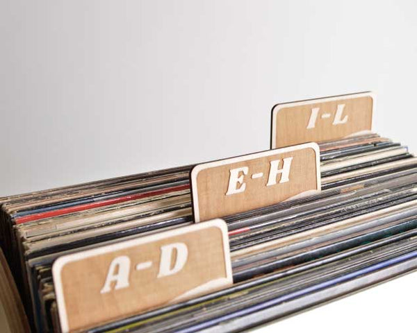 Vinyl Record Dividers // A-Z Rectangle Tab Set of 6 (script font)