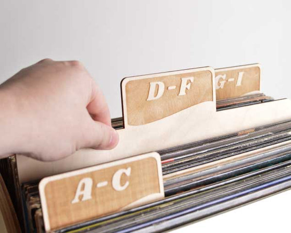 Vinyl Record Dividers // A-Z Rectangle Tab Set of 9 (script font)
