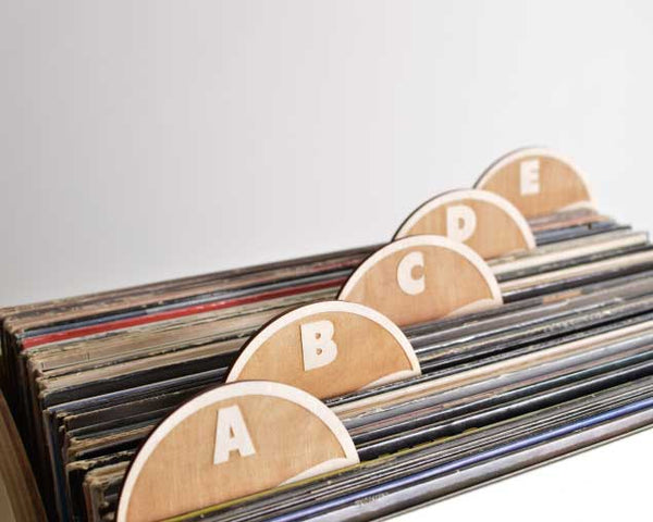 Vinyl Record Dividers // A-Z Round Tab Set of 26 (block font)