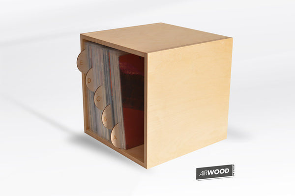 Vinyl Record Cube Crate with LP Dividers by Airwood Design
