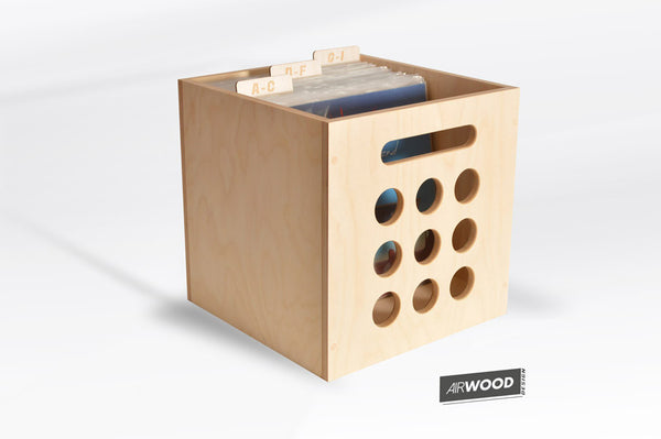 Deluxe Deep Groove Vinyl Record Crate with LP Dividers by Airwood Design