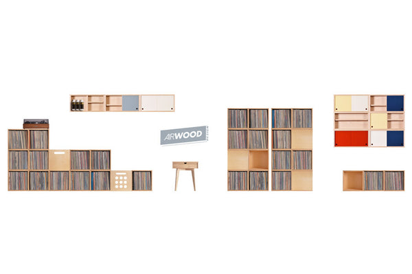 Vinyl Record Crate and Accessory Cabinet Wall by Airwood Design