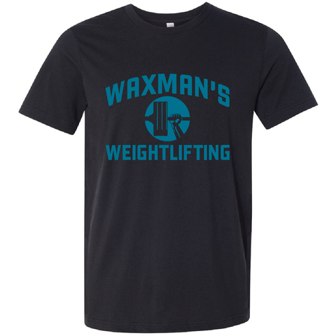 New: Waxman's Weightlifting Unisex T - Black and Blue - Waxman's Gym