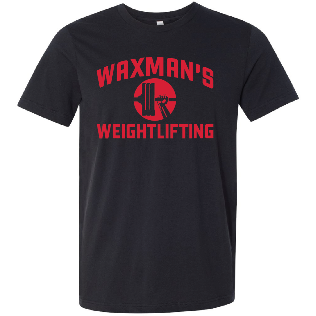 New: Waxman's Weightlifting Unisex T - Black and Red - Waxman's Gym