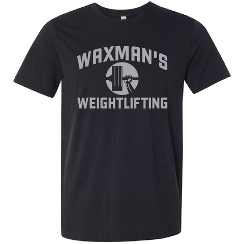 New: Waxman's Weightlifting Unisex T - Black and Silver - Waxman's Gym
