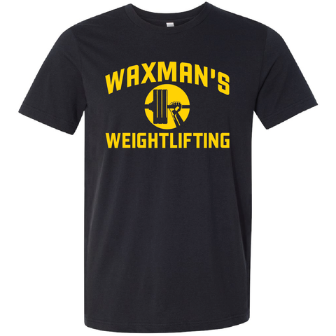 New: Waxman's Weightlifting Unisex T - Black and Yellow - Waxman's Gym