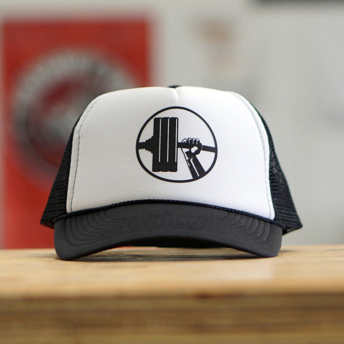 White & Black Snapback Logo Hat - Waxman's Gym