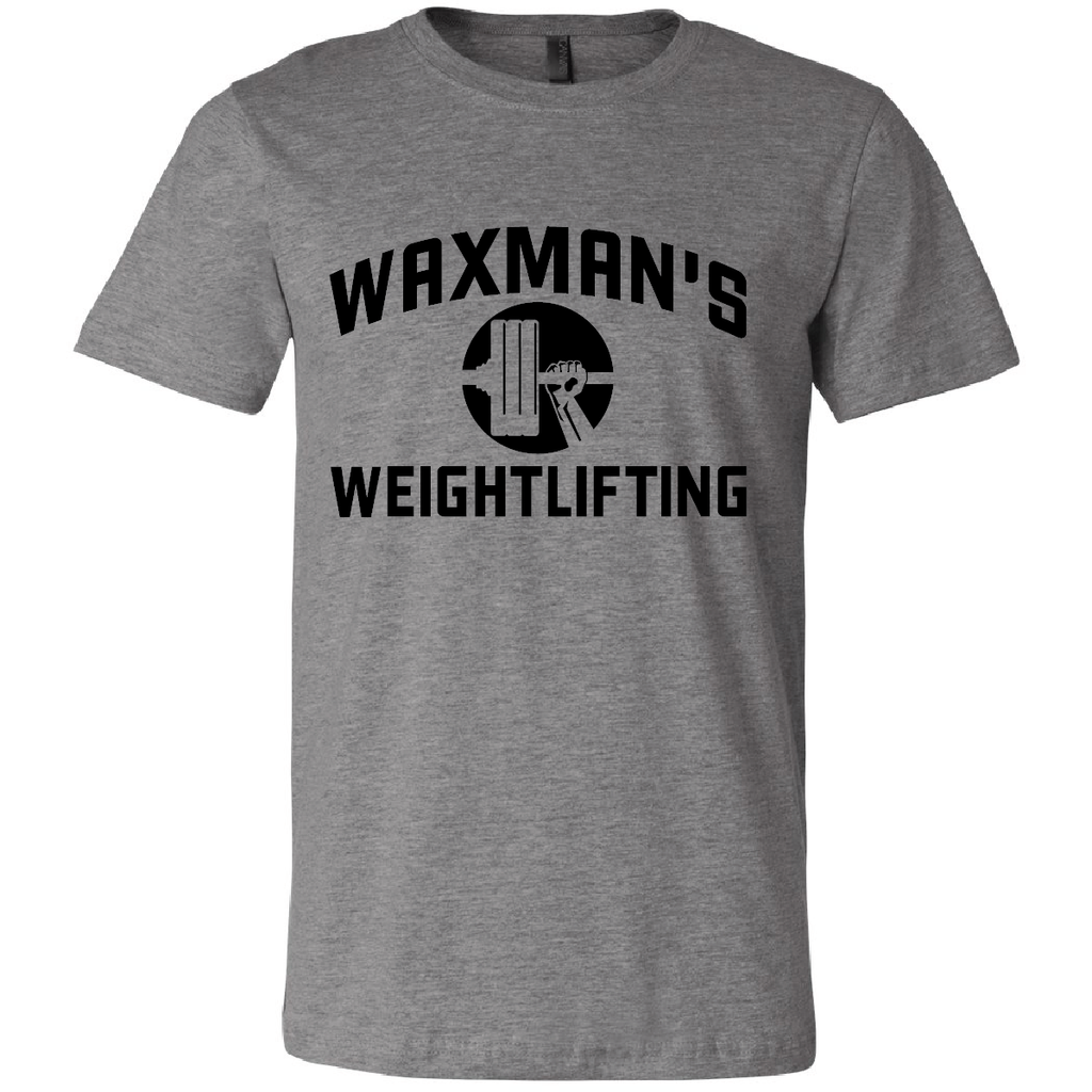 New: Waxman's Weightlifting Unisex T - Heather Grey and Black - Waxman's Gym