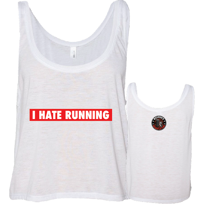 I Hate Running Boxy/Flowy Crop White - Waxman's Gym