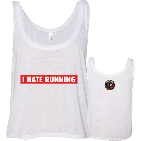 NEW: I Hate Running Boxy/Flowy Crop White