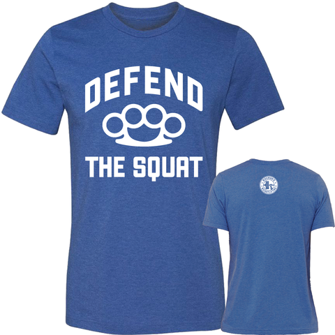 NEW: Men's Defend the Squat T-Shirt - Heather True Royal - Waxman's Gym