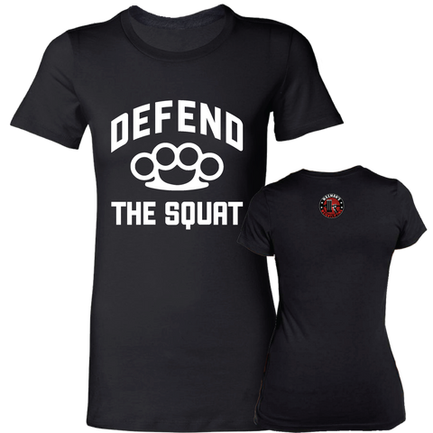 Women's Defend the Squat T-Shirt Black - Waxman's Gym