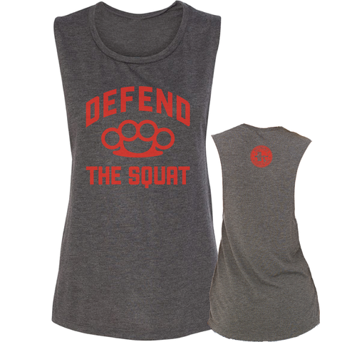 NEW: Defend the Squat Women's Muscle Tank - Grey Heather/Red Logo - Waxman's Gym
