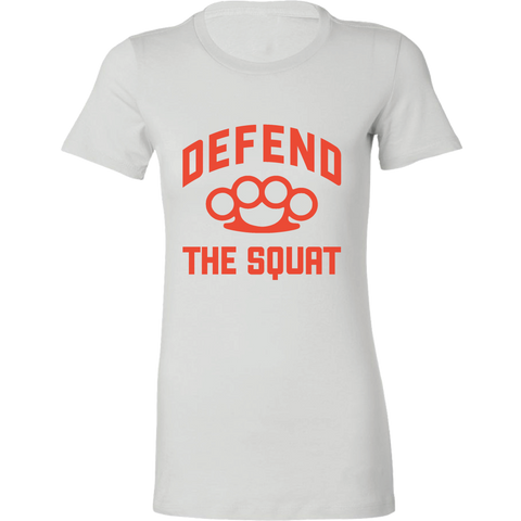 Women's Defend the Squat T-Shirt White - Waxman's Gym