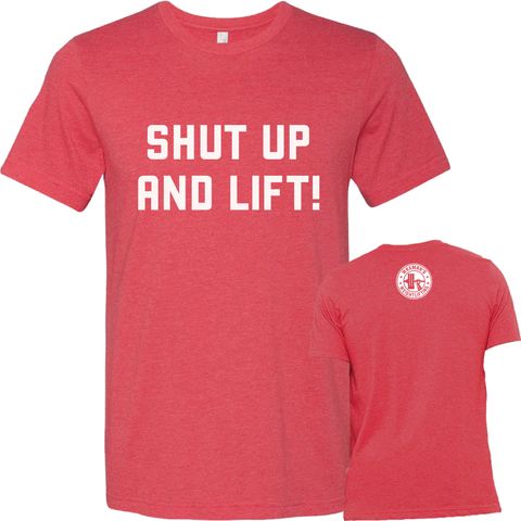 NEW: Men's Shut Up and Lift T-Shirt - Heather Red - Waxman's Gym