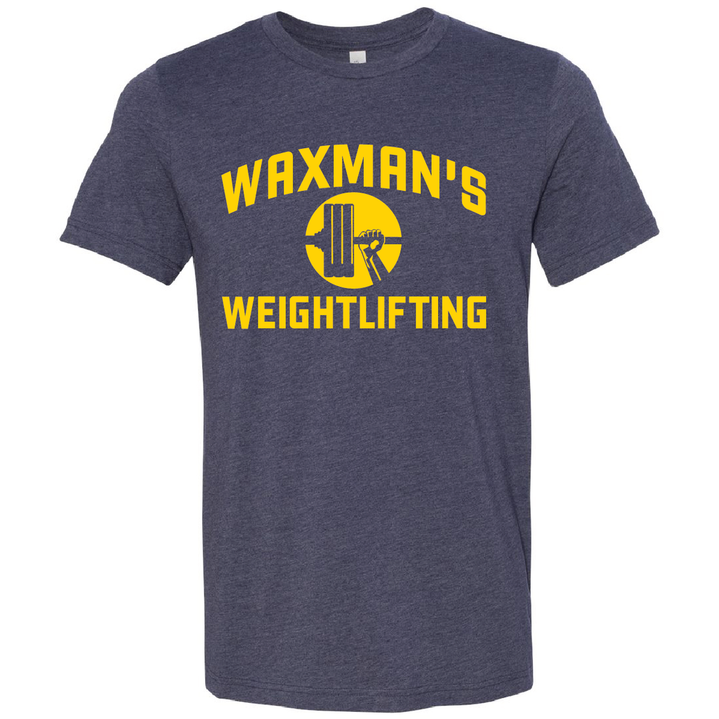 New: Waxman's Weightlifting Unisex T - Navy and Gold - Waxman's Gym